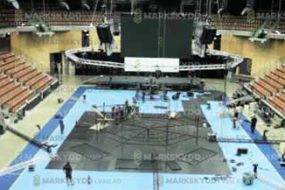 preparing arena floor